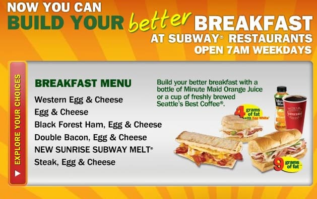 what are subway breakfast hours