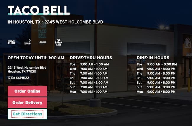 taco bell hours near me