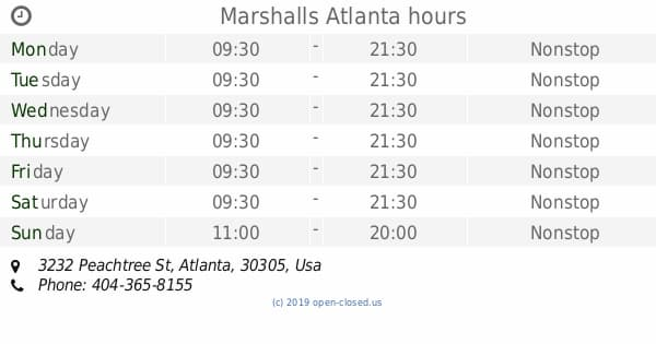 marshalls store hours today