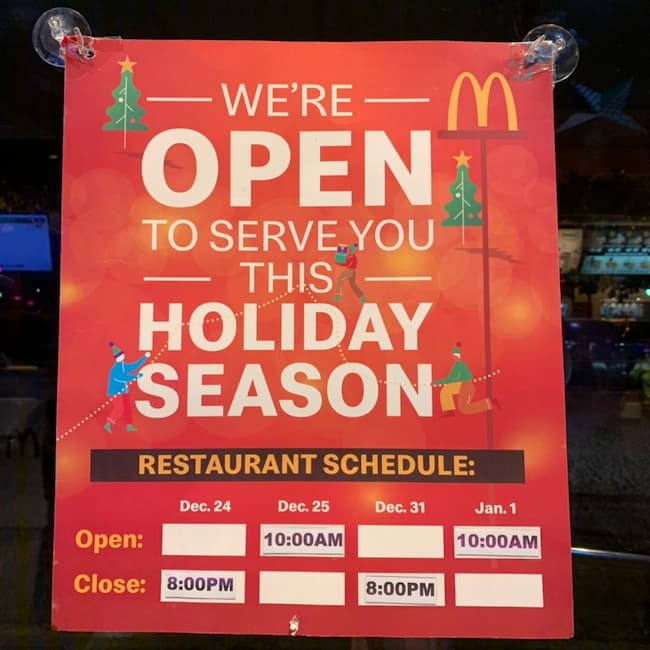 what is mcdonald's holiday hours